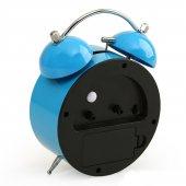 Mavi Renkli Metal Işıklı Zilli Alarmlı Çalar Masa Saati STM164-3