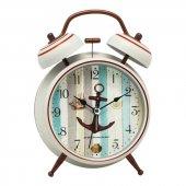 Denizci Gemici Country Beyaz Metal Işıklı Zilli Çalar Masa Saati