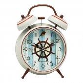 Denizci Gemici Country Beyaz Metal Işıklı Zilli Çalar Masa Saati-2
