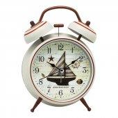 Denizci Gemici Country Beyaz Metal Işıklı Zilli Çalar Masa Saati-3