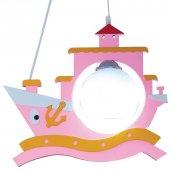 Pembe Renk Gemi Model Çocuk Odası Avizesi