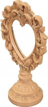 Ayaklı Dekoratif Çiçekli Taşlı Eskitme Ayna