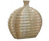 Gümüş Desenli Yassı Vazo