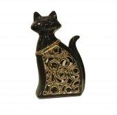 Cossa Siyah Altın Varaklı Kedi Biblo