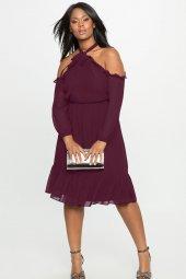Melisita Trella Büyük Beden  Şifon Elbise-4