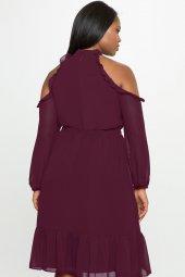 Melisita Trella Büyük Beden  Şifon Elbise-5