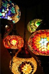 Osmanlı Lambası Cam Mozaik Avize 5 Li Set