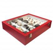 12li Saat Yüzük Kol Düğmesi Kutusu Kırmızı-2