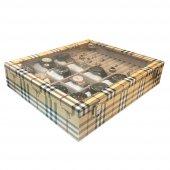 12li Saat Yüzük Kol Düğmesi Kutusu Ekose Sarı-2