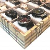 12li Saat Yüzük Kol Düğmesi Kutusu Ekose Sarı-4