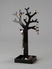 Kolye Ve Küpe Standı Ağaç Model Pleksi Siyah