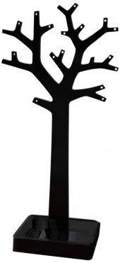 Kolye Ve Küpe Standı Ağaç Model Pleksi Siyah-2