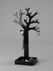 Kolye Ve Küpe Standı Ağaç Model Pleksi Siyah-3