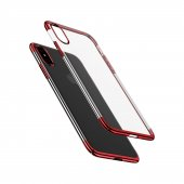 Baseus İphone X Glitter Serisi Şeffaf Sert Arka Kapak Kırmızı + Ekran Koruyucu