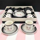 6lı Porselen Siyah Beyaz Kirpik Desenli Kahve Finc...