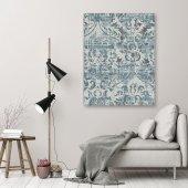 Mavi Damask Dekoratif Kanvas Tablo