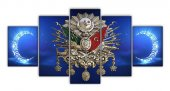 Mavi Osmanlı Arması 5 Parça Kanvas Tablo