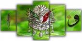 Yeşil Osmanlı Arması Beş Parça Kanvas Tablo