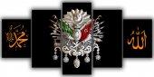 Siyah Osmanlı Arması Beş Parça Kanvas Tablo