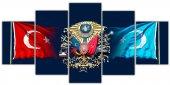 Osmanlı Arması & Bayrak Beş Parça Kanvas Tablo...