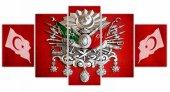 Bayraklar Ve Osmanlı Arması 5 Parça Kanvas Tablo