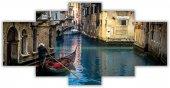 Venedik Manzaralı Beş Parça Kanvas Tablo