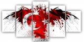 Bayrak Beş Parça Kanvas Tablo