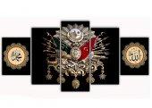 Siyah Osmanlı Arması 5 Parça Kanvas Tablo