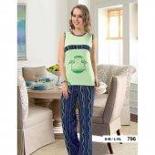 Derya Kurşun 796 Yeşil Desenli Pijama Takım