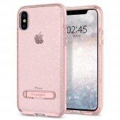 iPhone X Kılıf, Spigen Crystal Hybrid Glitter Rose Quartz-3