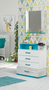 Aynalı Şifonyer, Tiffany Genç Odası (Mavi) Şifonyer ve Aynası