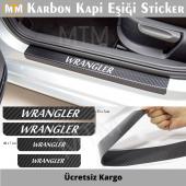 Jeep Wrangler Karbon Kapı Eşiği Sticker (4 Adet)