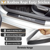 Renault Broadway Karbon Kapı Eşiği Sticker (4 Adet)