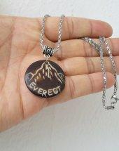 Everest Dağı İşlemeli Yak Kemik Çelik Zincirli Bayan Erkek Dağcı Kolye Mçk155