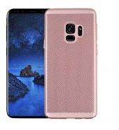 Samsung Galaxy A8 2018 Kılıf Delikli Rubber Kapak Rose Gold