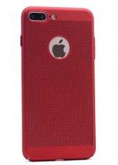 Apple İphone 8 Plus Kılıf Delikli Rubber Kapak Kırmızı