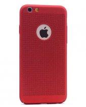Apple iPhone 8 Kılıf Delikli Rubber Kapak Kırmızı