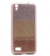 Vestel Venüs V3 5010 Kılıf Mat Lazer Taşlı Silikon Gold