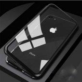 Apple iPhone 6 Kılıf Devrim Mıknatıslı Cam Kapak Siyah