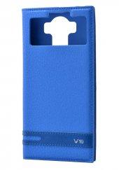 LG V10 Kılıf Elite Kapaklı Kılıf Mavi