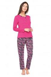 Çift Kaplan 7306 Şal Desen Patlı Uzun Kol Bayan Pijama Takım