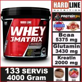 Hardline Whey 3 Matrix Protein Tozu 4000 Gr Ekonomik Boy 133 Servis 3matrix