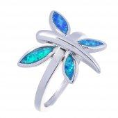 925 Ayar Gümüş Opal Taşlı Kelebek Yüzük