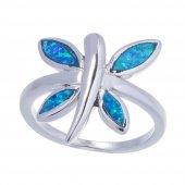 925 Ayar Gümüş Opal Taşlı Kelebek Yüzük-2