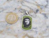 Che Guevara Çelik Bayan Erkek Unisex Kolye mçk198 Yeşil ve Gümüş Rengi-2