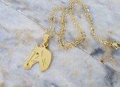 Altın Rengi At Çelik Bayan Kolye ve Zincir mçk182 Sarı Rengi At Kafası-2