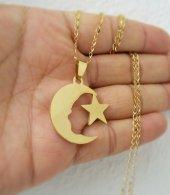 Ay Yıldız Türk Bayrağı Sarı Çelik Bayan Kolye Ve Zincir Mçk184 Altın Rengi