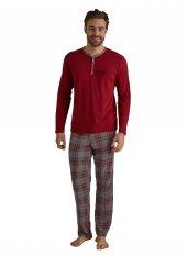 Mod 3087 Patlı Ekose Kareli Uzun Kol Erkek Pijama ...