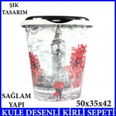 SAAT KULESİ DESENLE KİRLİ SEPETİ BANYO 50x35x42 60 LT KAPASİTELİ-2