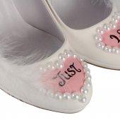 Gelinlik Ayakkabı Öpüşen Gelin Damat Kelebekli Tasarım-3